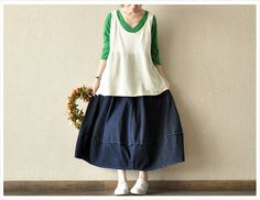Blue Cowboy Elastic Waist Loose Skirts Cotton  Chic Women Skirts Cowboy Dress --Women Clothing on Etsy, $53.00