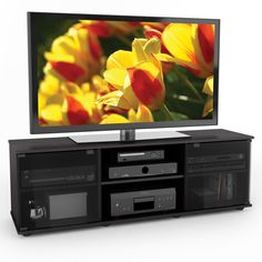 Sonax west lake wood dark espresso 60 inch entertainment center practical for a mounted or sitting tv this fiji entertainment center from sonax is a beautiful combination of open and concealed storage space sciox Images
