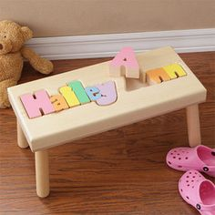 It's a stool and a puzzle all in one! Lovely gift for a grandchild - their name in a puzzle that doubles as a place to sit that is just theirs!