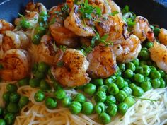 Garlicky Piri Piri Shrimp & Pasta - yummy, quick, and easy.  I used whole wheat angel hair and added tomatoes.