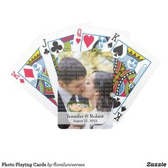 Add your favorite engagement or wedding photo and make a unique gift with this cute playing cards set. Lovely as favor or first wedding anniversary gift.
