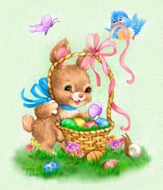 Easter Bunny & Basket - Artist Penny Parker