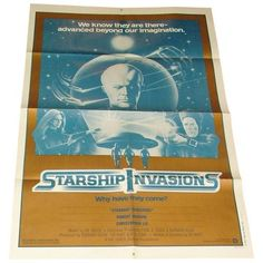 Vintage Movie Poster Starship Invasions 1977 ($75) ❤ liked on Polyvore featuring home, home decor, wall art, vintage wall art, vintage movie posters, vintage home decor, vintage home accessories and vintage posters