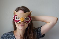 Owl MaskRed and brown by DawnKathrynStudio on Etsy Owl Face Paint, Owl Mask, Just For Fun, Mask Making, Sunglasses Women, Halloween Costumes, Trending Outfits, Brown, Unique Jewelry