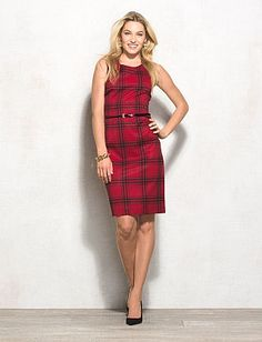 JONES STUDIO Plaid Belted Sheath Dress. Plaid is back in a G-BIG way. don't get caught without it! Match with a black blazer or cardi.