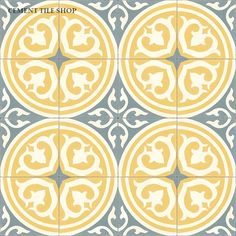 """Cement Tile Shop - Encaustic Cement Tile Isla Price Per Piece: $7.40 Price Per Box: $74.00 Sq. Ft. Per Box: 4.4 Pieces Per Box: 10 Length: 8"""" (20 cm) Width: 8"""" (20 cm) Thickness: 5/8"""" Collection: Cement Tile Shop Collection Color Chart: Solid Color Choices Availability: In Stock As Shown: Blanc, Peacock, Crema - See more at: http://www.cementtileshop.com/in-stock-encaustic-cement-tile/Isla.html#sthash.7DKxN8O5.dpuf"""