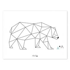 Kinder-Poster 'Origami-Bär' schwarz/weiß 30x40cm