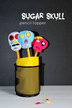 Sugar Skull Pencil Toppers #halloween #craft