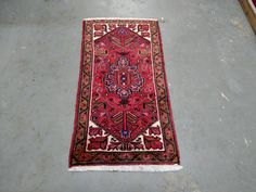 1980s Hand-Knotted Vintage Heriz Persian Rug (3425) by carpetshopprincess on Etsy