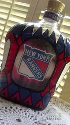 SALE New York Rangers Crown Royal Whisky Bottle by PattiesPassion, $50.00