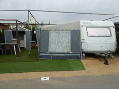 Touring Caravan & Awning For Sale On Camping Benisol Campsite In Benidorm, Costa Blanca, Spain. Touring Caravans For Sale, Caravan Awnings, Empire Romain, Rectangular Pool, Mobile Homes For Sale, Italian Garden, Beautiful Pools, Camping, Heated Pool
