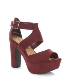 Wide Fit Burgundy Chunky Strappy Heels