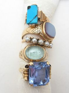 stack of blue...love the pearl ring in the middle