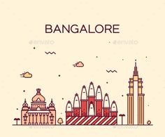 Bangalore Skyline Vector Illustration Linear by gropgrop Bangalore skyline detailed silhouette Trendy vector illustration linear style City Drawing, Doodle Art Drawing, Skyline Design, Skyline Art, Amsterdam, City Sketch, Bangalore City, City Icon, Holiday Icon