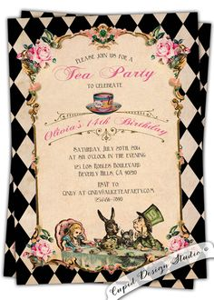 Alice in Wonderland Invitation. Vintage Birthday Tea Party. Mad hatter. Shabby Chic. black and pink. Printable. by CupidDesigns on Etsy https://www.etsy.com/listing/189358341/alice-in-wonderland-invitation-vintage