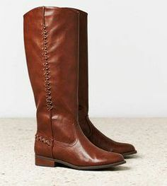 Tall Leather Boots with Side Stitch.