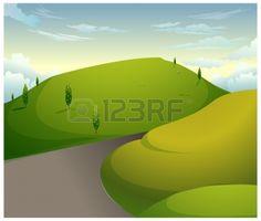Diese Abbildung ist eine gemeinsame Naturlandschaft. Grüne Berge mit blauem Himmel