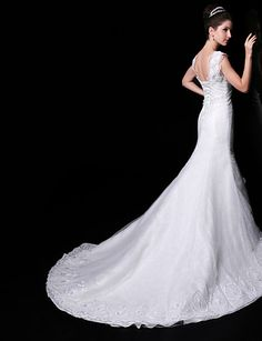 Trumpet/Mermaid V-neck Court Train Wedding Dress (Lace/Organza/Charmeuse) – GBP £ 182.49