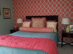 Blue Bed Sheet With Coral Schemed Blanket Various Colors U0026 Textures Pillow  Shams Black Headboard Coral Part 30