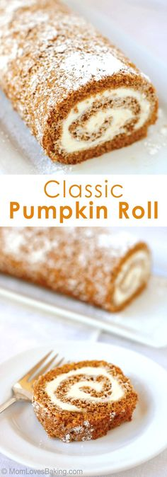 Cinnamon and cloves add the spice to this pumpkin sheet cake, topped with cream cheese frosting and rolled into a festive log. Cinnamon and cloves add the spice to this pumpkin sheet cake, topped with cream cheese frosting and rolled into a festive log. Fall Baking, Holiday Baking, Christmas Baking, Christmas Recipes, Holiday Desserts, Just Desserts, Dessert Recipes, Desserts Diy, Cake Roll Recipes