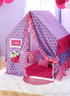 Score some major brownie points with your favorite little diva with this dream of a DIY tent!