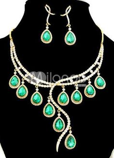 Attractive Rhinestone Metal Jewel Set. Necklace length 00mmEarring length 50mmPendant length 90mm. See More Wedding Jewelry Sets at http://www.ourgreatshop.com/Wedding-Jewelry-Sets-C924.aspx