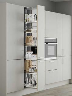 Kitchen Tall Units, Kitchen Larder Units, Tall Kitchen Cabinets, Larder Cupboard, Kitchen Cabinet Storage, Small Kitchens, Corner Pantry Cabinet, Kitchen Cabinet Dimensions, Base Cabinets