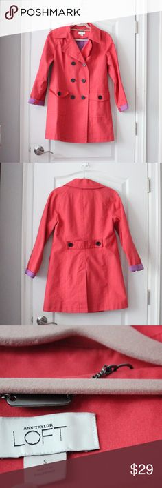 Ann Taylor LOFT Coral Double-Breasted Trenchcoat Ann Taylor LOFT Coral Double-Breasted Trenchcoat. Good condition. Size Small. LOFT Jackets & Coats Trench Coats