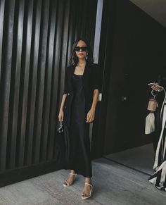 All-Black Outfits: 27 Perfect Ways to Look Like Youve Made an Effort Long Silk Nightgown, Silk Cami Dress, Slip Dress Outfit, Black Slip Dress, Dress Outfits, Fashion Outfits, 90s Outfit, Wrap Dress, All Black Outfit
