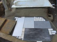 Rocket Stove Bath tiled terrace.