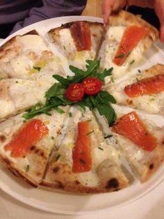 Italian pizza! mozzarella cheese & Salmon
