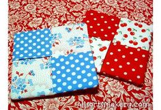 Crisscross-coasters - She's got quick & easy tutorial. So simple a beginner to sewing will turn out a great product!