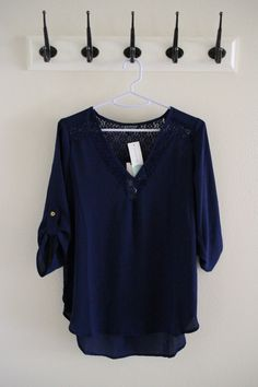November '15 Stitch Fix // Papermoon Heather Lace Detail Tab-Sleeve Blouse