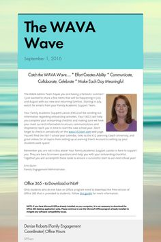 High School #WAVA Wave September Newsletter.  Enjoy!