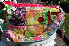 hippy colorful patches bag