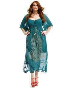 Robe longue voile et arabesques dorées grande taille femme MAT FASHION 'aime beaucoup