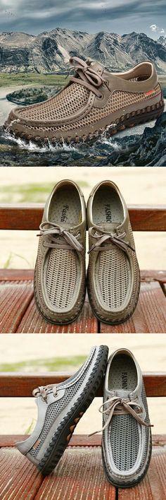 Amazon Men's Summer Handmade Breathable Mesh Leahter Mixed Hiking Shoes