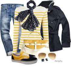 """""""Completely Casual Navy & Yellow"""" by stylesbyjoey ❤ liked on Polyvore"""