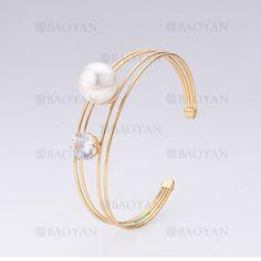 pulsera con perla de dorado en acero inoxidable-SSBTG255094