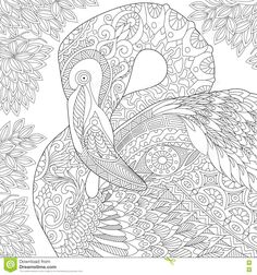 Photo About Stylized Flamingo Bird Among Jungle Foliage Freehand Sketch For Adult Anti Stress Coloring Book Page With Doodle And Zentangle Elements