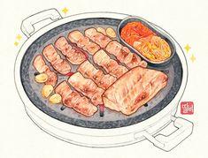 Food art Cute Food, I Love Food, Good Food, Food N, Food And Drink, Korean Pork Belly, Korean Bbq Restaurant, Food Cartoon, Food Painting