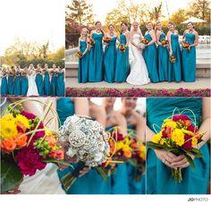 teal bridesmaids, broach bouquet, orange bouquet,   Knoxville wedding photographer  http://www.jophotoonline.com/blog