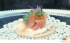 Crispy, savory & flavor-packed. Tostaditas de Salmon Humado are a sensational way to get appetites fired up.  More: http://www.sohotaco.com/2015/04/18/catering-laguna-beach-with-appetizers-desserts #tacocatering #lagunabeach #ocfoodies