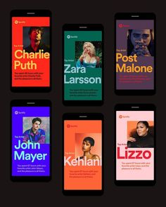 Hundreds of millions of music fans listen to Spotify.With 2018 Wrapped, Spotify invited both artists and fans to explore and celebrate th… Font Design, Poster Design, Graphic Design Posters, Graphic Design Inspiration, Banner Design, App Design, Layout Design, Branding Design, Color Inspiration