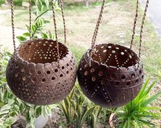 2 Pcs Coconut Shell Hanging Pot Planter And Hanging Candle Holders Natural Handmade Flower Orchids by Handmadebyyucrack on Etsy Coconut Shell Crafts, Coconut Bowl, Painted Gourds, Hanging Pots, Gourd Art, Shell Art, Plant Holders, Candle Holders, Handmade Flowers
