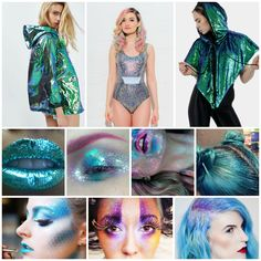 Space themed fancy dress looks for festuvals. Secret Garden Party 2016, alien fancy dress, space costume, glitter make-up, holographic rain coat, Burnt Soul, Fuud, sequins, festival,