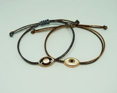 Dainty evil eye bracelet, rose gold, metal cord, enamel, in two colors to choose from