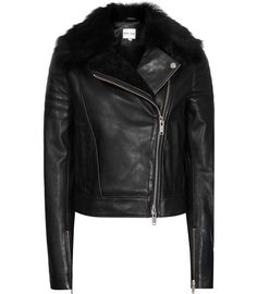 Womens Black Leather And Shearling Jacket - Reiss Tilly