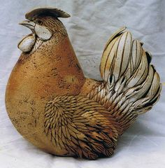 Vögel Ceramic Birds, Ceramic Animals, Clay Animals, Ceramic Clay, Ceramic Chicken, Chicken Bird, Bird Sculpture, Animal Sculptures, Ceramic Sculptures