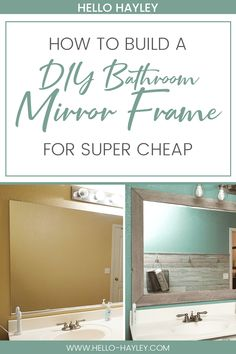 Follow this easy guide to make your own DIY bathroom mirror frame! This easy DIY project is an easy home improvement that will upgrade your bathroom in an afternoon. With just some wood, stain, paint, and glue, you can upgrade builder-grade mirrors very quickly. #homeimprovement #diyproject #bathroomrenovation